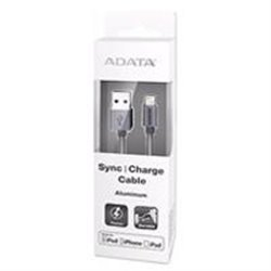 CABLE ADATA USB A LIGHTNING APPLE DE 100CM 2.4MHA TITANIO IPOD IPHONE IPAD METALICO