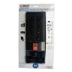 SUPRESOR DE PICOS COMPLET BCR-1-005, 8 CONTACTOS, CARGADOR USB, 504 JOULES DE PROTECCION