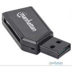MINI LECTOR DE MEMORIAS MANHATTAN 24 EN 1, USB 2.0 NEGRO