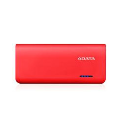 BATERIA DE RESPALDO POWER BANK ADATA PT100 10000MAH/LINTERNA/2 USB 1A/2A/INDICADOR DE CARGA/ROJO