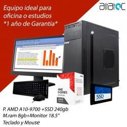 PC AMD A10-9700 SSD 240GB DDR4 8GB PANTALLA 18.5 TECLADO Y MOUSE